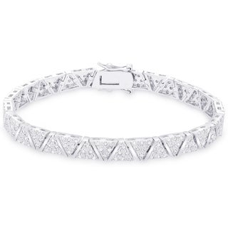 Finesque Sterling Silver 2ct TDW Diamond 'V' Link Bracelet