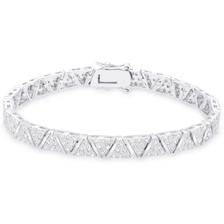 Finesque Sterling Silver 2ct TDW Diamond 'V' Link Bracelet (I-J, I2-I3)