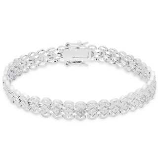 Finesque Sterling Silver Diamond Accent Lattice Design Bracelet