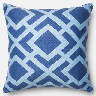 Printed Geometric Blue Down Feather or Polyester Filled 22-inch Throw Pillow or Pillow Cover