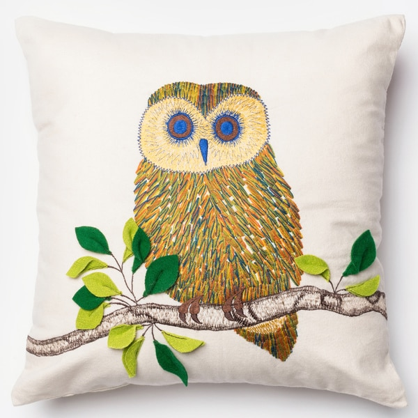 Embroidered Owl Ivory/ Multi Down Feather or Polyester Filled 18-inch Throw Pillow or Pillow ...