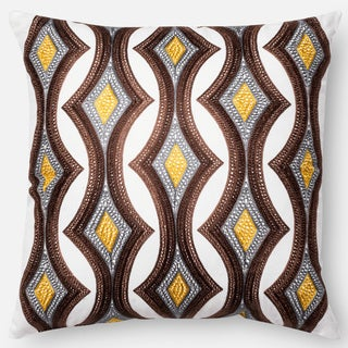 Embroidered Retro Grey/ Multi Down Feather or Polyester Filled 18-inch Throw Pillow or Pillow Cover