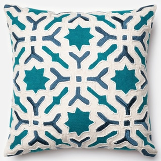 Applique Patchwork Teal/ Ivory Down Feather or Polyester Filled 18-inch Throw Pillow or Pillow Cover