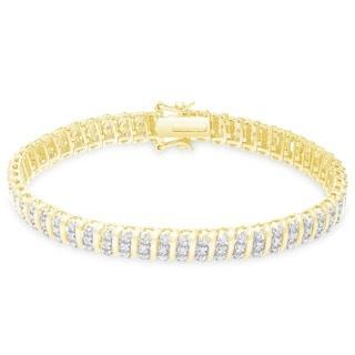 Finesque Sterling Silver 1 1/2ct TDW Diamond Stripe Design Bracelet (I-J, I2-I3)