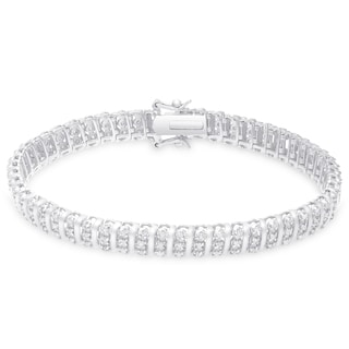 Finesque Sterling Silver 1 1/2ct TDW Diamond Stripe Design Bracelet