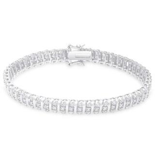 Finesque Sterling Silver 1 1/2ct TDW Diamond Stripe Design Bracelet (2 options available)