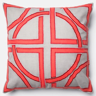 Printed Geometric Grey/ Red Down Feather or Polyester Filled 18-inch Throw Pillow or Pillow Cover
