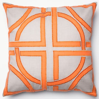 Printed Geometric Grey/ Orange Down Feather or Polyester Filled 18-inch Throw Pillow or Pillow Cover