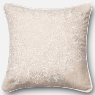Embroidered Medallion Ivory Down Feather or Polyester Filled 18-inch Throw Pillow or Pillow Cover