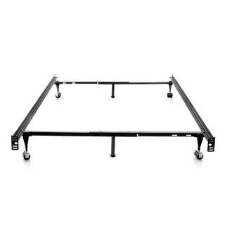 Brookside Black Metal Full/ Twin Heavy-duty 6-leg Adjustable Bedframe with Wheels