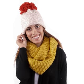 Hadari Women's Thick Knit Infiniti Scarf & Hat Combo|https://ak1.ostkcdn.com/images/products/10772389/P17823009.jpg?impolicy=medium