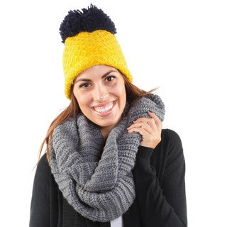 Hadari Women's Thick Knit Infiniti Scarf & Hat Combo