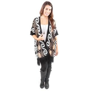 Hadari Women's Gold Swirl Design Cardigan Sweater