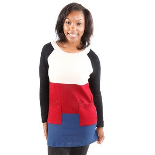 Hadari Women's Color Block Double Pocket Tunic Sweater