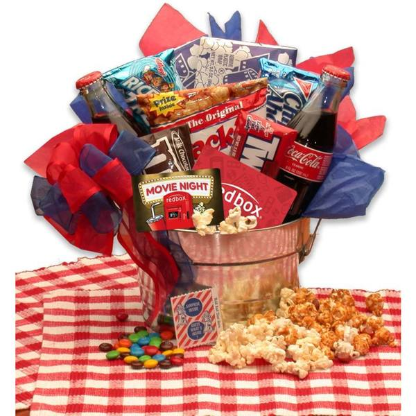 Gift Basket Drop Shipping Blockbuster Night Movie Pail with 10.00 Redbox Gift Card. Opens flyout.