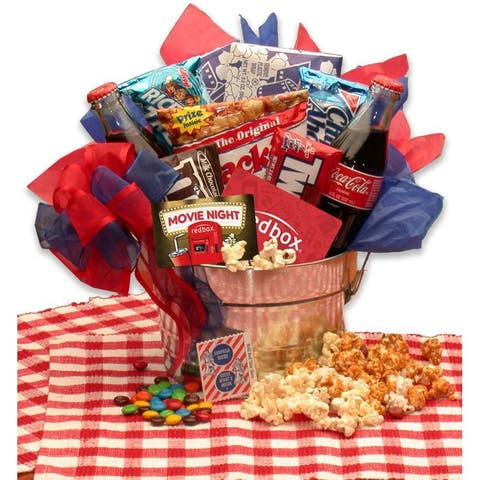 Gift Basket Drop Shipping Blockbuster Night Movie Pail with 10.00 Redbox Gift Card