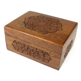 Handcrafted Carved Wood Decorative Floral Box (India)