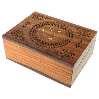 Handcrafted Carved Wood Box with Round Floral Design (India)