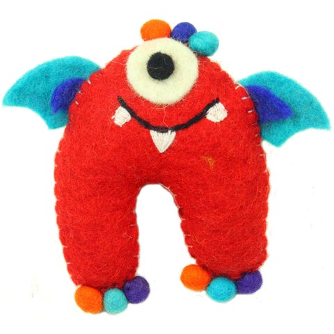 Handmade Red Tooth Monster with Wings - Global Groove (Nepal)
