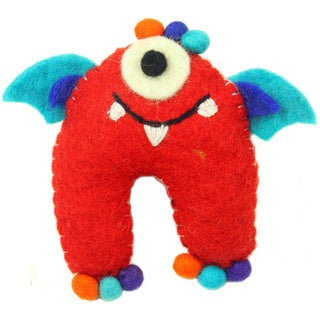 Hand Felted Red Tooth Monster with Wings - Global Groove