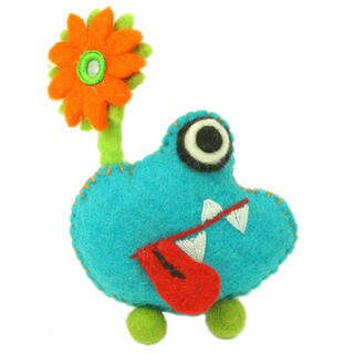 Handmade Blue Tooth Monster with Flower - Global Groove (Nepal)
