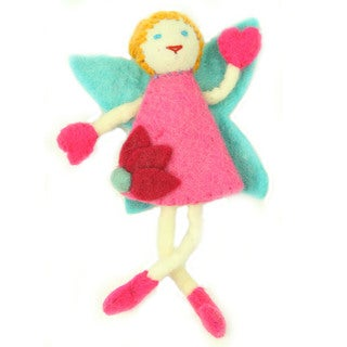 Hand Felted Tooth Fairy - Blonde Hair with Pink Dress - Global Groove