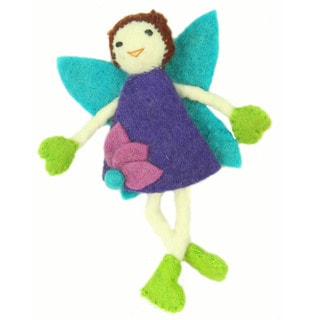 Hand Felted Brown Hair with Purple Dress Tooth Fairy Pillow