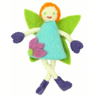 Hand Felted Tooth Fairy - Red Hair with Blue Dress - Global Groove