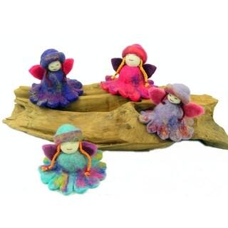 Handmade Colorful Flower Fairies - Set of 4 - Global Groove (Nepal)