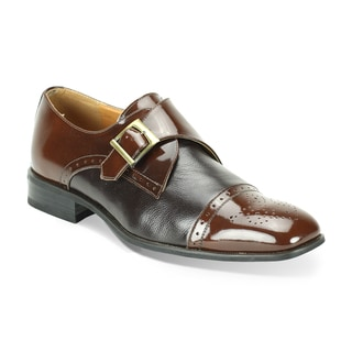 Giorgio Venturi Men's Two-Tone Single Monk Strap Dress Shoes