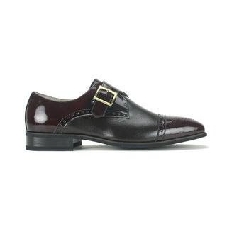 Giorgio Venturi Men's Two-Tone Single Monk-Strap Dress Shoes (Brown/Black)