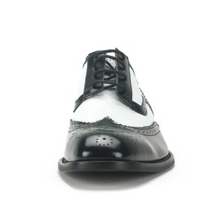 Giorgio Venturi Men's Black and White Wing Tip Oxfords