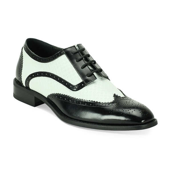 giorgio venturi s black and white wing tip oxfords