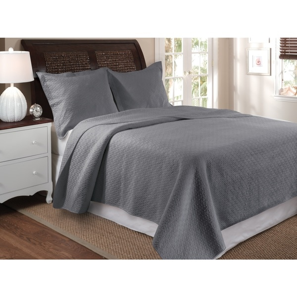 Greenland Home Fashions Vashon Gray Oversized Cotton 3-piece Quilt Set
