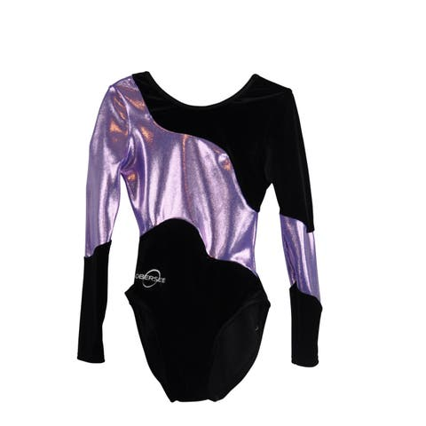 Obersee Girl's Girls Gymnastics Leotard - Long Arm Lilac Swerve