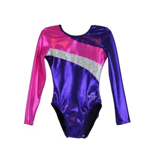Kids' Long Arm Diagonal Purple Gymnastics Leotard