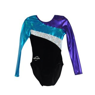 Kids' Long Arm Diagonal Black Gymnastics Leotard