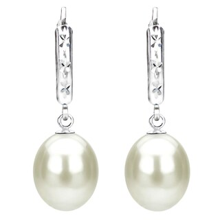 DaVonna Sterling Silver White Cultured Freshwater Pearl Dangle Earrings (3 options available)