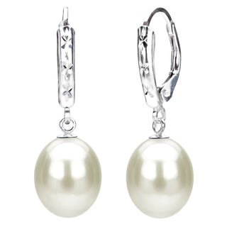 DaVonna Sterling Silver White Cultured Freshwater Pearl Dangle Earrings