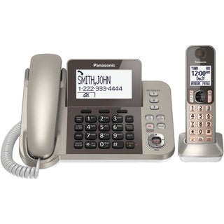 Panasonic KX-TGF350N Champagne Silver DECT 6.0 Plus Corded / Cordless Landline Phone System (Refurbished)