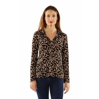 24/7 Comfort Apparel Women's Cream&Black Swirl Print Collar Blouse