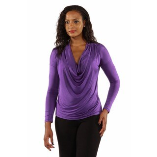 24/7 Comfort Apparel Women's Drape Scoop Neck Blouse