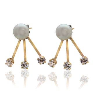 Pearlyta 14k Yellow Gold Round Cubic Zirconia/ Freshwater Pearl Tribal Earrings (6-7mm)