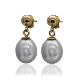 Pearlyta 14k Yellow Gold Ball/ Rice Freshwater Pearl Hanging Earrings (11mm)