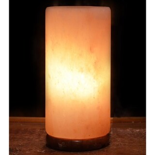 Cylinder Natural Salt Lamp with Wood Base