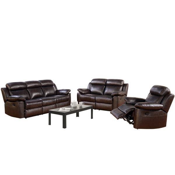 Surprising Shop Abbyson Braylen 3 Piece Top Grain Leather Reclining Onthecornerstone Fun Painted Chair Ideas Images Onthecornerstoneorg