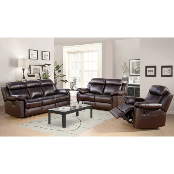 Abbyson Braylen 3-piece Top Grain Leather Reclining Living Room Sofa Set