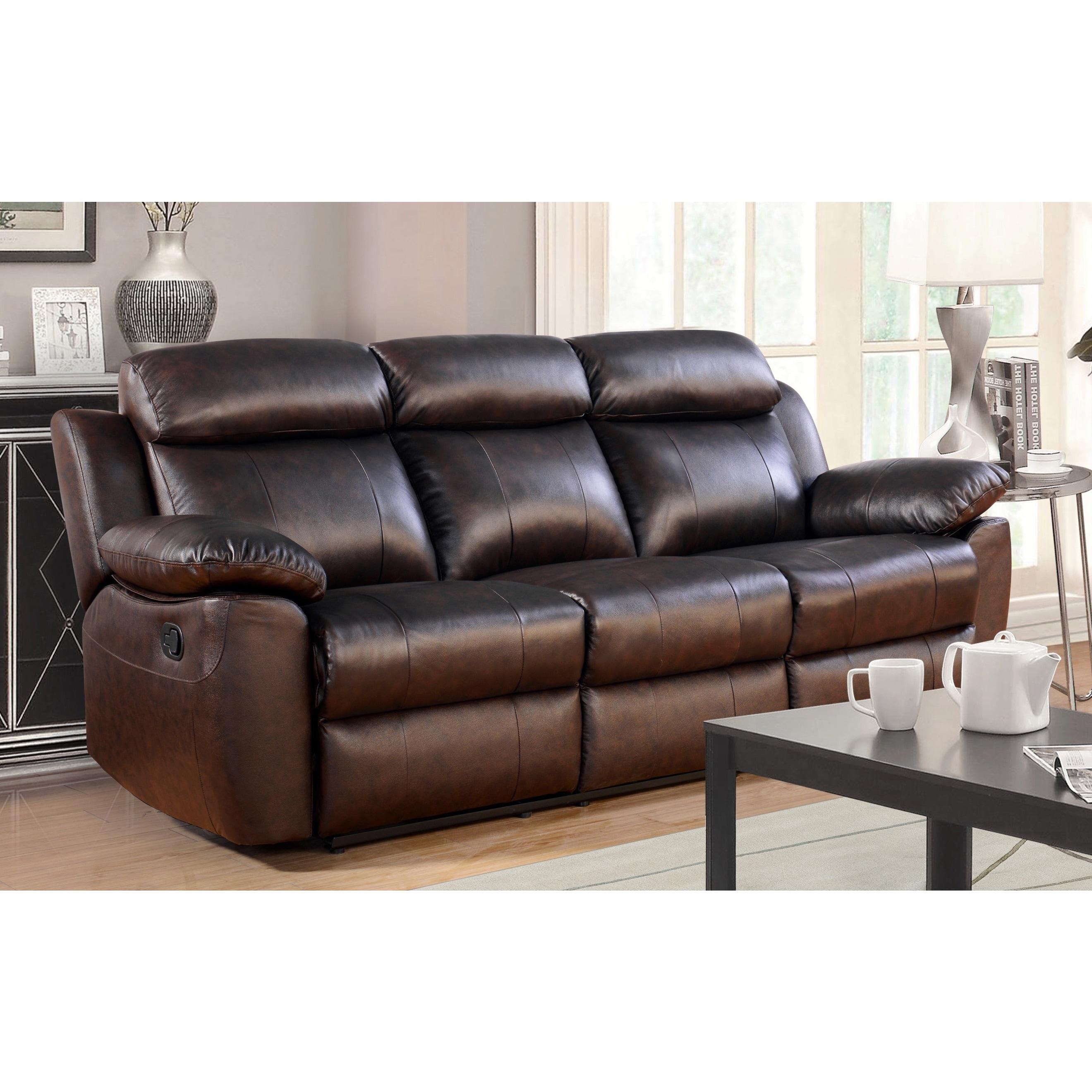 Abbyson Braylen 3 Piece Top Grain Leather Reclining Living Room Sofa Set Ebay