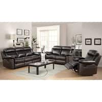 Abbyson Braylen 3 Piece Top Grain Leather Reclining Living Room Sofa Set