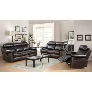 leather living room chairs. Abbyson Thompson 3 piece Leather Reclining Living Room Sofa Set Furniture Sets For Less  Overstock com